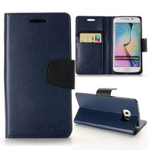 Diary blauwe wallet hoes Samsung Galaxy S6 Edge