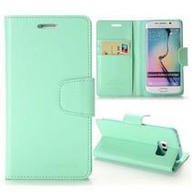 Diary cyaan wallet hoes Samsung Galaxy S6 Edge