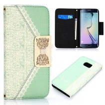 Gouden strik book case groen Samsung Galaxy S6 Edge