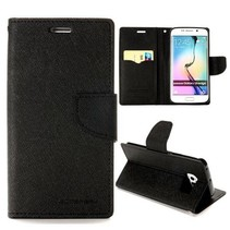 Diary zwarte Bookcase hoes Samsung Galaxy S6 Edge