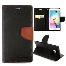 Diary zwart / bruine Bookcase hoes Samsung Galaxy S6 Edge