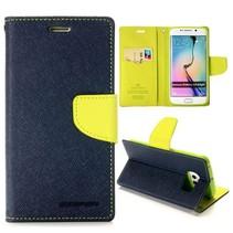 Diary blauw / groene Bookcase hoes Samsung Galaxy S6 Edge