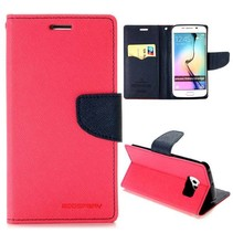 Diary roze / blauwe Bookcase hoes Samsung Galaxy S6 Edge