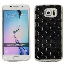 Zwart diamantgrid TPU hoesje Samsung Galaxy S6 Edge