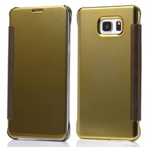 Gouden clear view Bookcase hoes Samsung Galaxy S6 Edge Plus