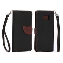 Leaf Bookcase hoes zwart Samsung Galaxy S6 Edge Plus