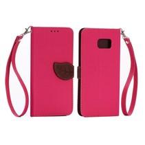 Leaf Bookcase hoes roze Samsung Galaxy S6 Edge Plus