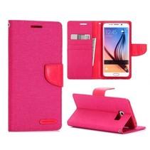 Canvas roze Bookcase hoes Samsung Galaxy S6 Edge Plus