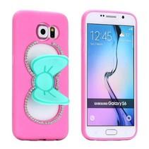 Roze / blauw 3D strikje siliconen hoesje Samsung Galaxy S6