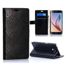 Zwarte krokodillen Bookcase hoes Samsung Galaxy S6