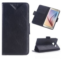 Zwart stijlvol glad Bookcase hoesje Samsung Galaxy S6