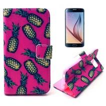 Roze ananas print Bookcase hoesje Samsung Galaxy S6
