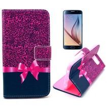 Roze strikje Bookcase hoesje Samsung Galaxy S6