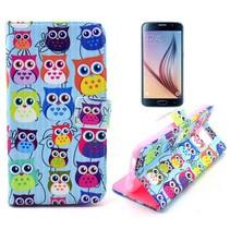 Kleurrijke uilen Booktype  hoes Samsung Galaxy S6