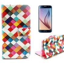 Kleurijke ruiten Booktype  hoes Samsung Galaxy S6