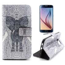 Azteken olifant Booktype  hoes Samsung Galaxy S6