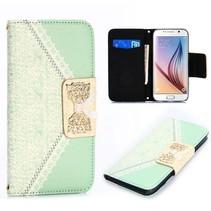 Gouden strikje Bookcase hoes groen Samsung Galaxy S6