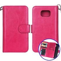 Donkerroze 2-in-1 detachable luxe Bookcase hoesje Samsung Galaxy S6
