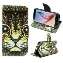 Kleurrijke kat Booktype  hoes Samsung Galaxy S6