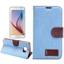 Lichtblauwe stoffen Bookcase hoes Samsung Galaxy S6