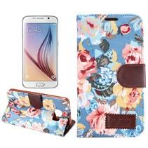 Blauwe bloemen design stoffen Bookcase hoes Samsung Galaxy S6
