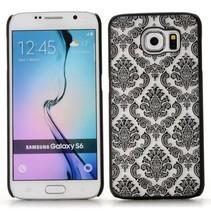 Zwart retro bloemendesign hardcase hoesje Samsung Galaxy S6