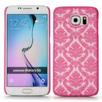Donkerroze retro bloemendesign hardcase hoesje Samsung Galaxy S6