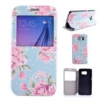 Bloemen print Bookcase hoesje met venster Samsung Galaxy S6