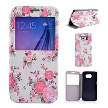 Bloemen design Bookcase hoesje met venster Samsung Galaxy S6