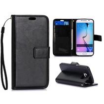 Zwart trendy Bookcase hoesje Samsung Galaxy S6