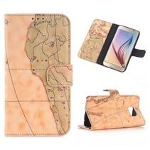 Wereldmap Booktype  hoesje Samsung Galaxy S6