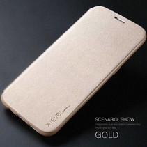 Goud Slim Bookcase Hoesje Samsung Galaxy S7 Edge