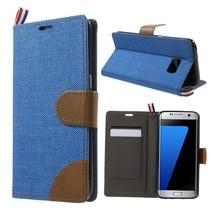 Blauw Jeans Bookcase Hoesje Samsung Galaxy S7 Edge