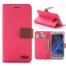 Diary Series Roze Bookcase Hoesje Samsung Galaxy S7 Edge