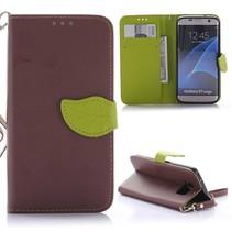 Bruin Blad Design Bookcase Hoesje Samsung Galaxy S7 Edge