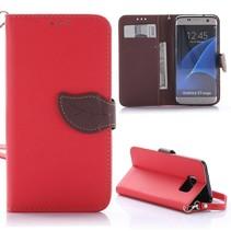 Goospery Rood Blad Design Bookcase Hoesje Samsung Galaxy S7 Edge