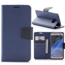 Goospery Blauw Blad Design Bookcase Hoesje Samsung Galaxy S7 Edge