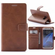 Moon Series Bruin Bookcase Hoesje Samsung Galaxy S7 Edge