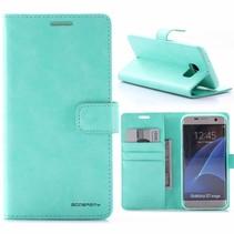 Moon Series Cyaan Bookcase Hoesje Samsung Galaxy S7 Edge