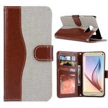 Grijs Jeans Bookcase Hoesje Samsung Galaxy S7 Edge