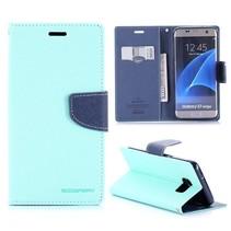 Fancy Diary Cyaan Bookcase Hoesje Samsung Galaxy S7 Edge