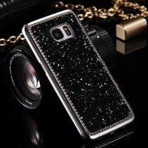 Zwart Glitter Diamantjes Hardcase Hoesje Samsung Galaxy S7 Edge