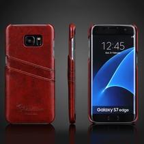 Bruin Pasjeshouders Faux Leren Hoes Samsung Galaxy S7 Edge