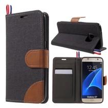 Zwart Jeans Bookcase Hoesje Samsung Galaxy S7