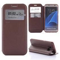 Bruin Venster Bookcase Hoesje Samsung Galaxy S7 Edge