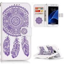 Paarse Dromenvanger Bookcase Hoesje Samsung Galaxy S7