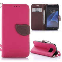 Roze Blad Design Bookcase Hoesje Samsung Galaxy S7