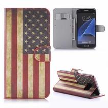 Amerikaanse Vlag Bookcase Hoesje Samsung Galaxy S7
