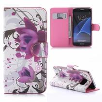 Paarse Bloem Bookcase Hoesje Samsung Galaxy S7