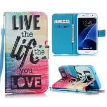 Live the Life you Love Bookcase Hoesje Samsung Galaxy S7